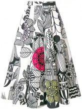 Junya Watanabe - sketch print midi skirt - women - Cotone/Nylon - S - Bianco