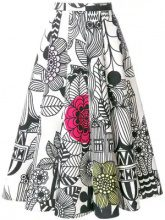 Junya Watanabe - sketch print midi skirt - women - Cotton/Nylon - L, S - WHITE