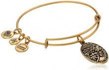 Alex and Ani Braccialletto Estensibile da Donna con Charm in Ottone, Oro