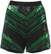 Sally Lapointe - sequin knit chevron shorts - women - Sequin/Viscose - S - BLACK