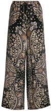 Max Mara Studio - Pantaloni larghi stampati - women - Silk - 44 - BLACK