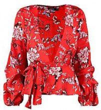 Olivia Ruched Sleeve Printed Kimono Jacket