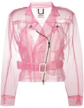 Aviù - sheer biker jacket - women - Polyamide - S - PINK & PURPLE