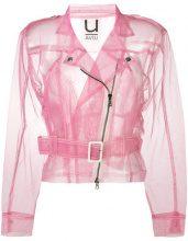 Aviù - sheer biker jacket - women - Polyamide - S - PINK & PURPLE