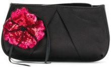 Pinko - Clutch con fiore di strass - women - Cotton/Polyester - OS - BLACK