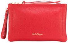 Salvatore Ferragamo - Clutch con logo stampato - women - Leather/Brass - OS - RED