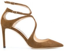 Jimmy Choo - Lancer 85 pumps - women - Suede/Leather - 36, 36.5, 37, 37.5, 38, 38.5, 39, 40 - BROWN