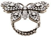 Gucci - Anello 'Butterfly' - women - Brass/Crystal - 51, 56 - Metallizzato