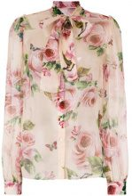 Dolce & Gabbana - Blusa con stampa con rose - women - Silk - 44, 42, 46, 48 - PINK & PURPLE