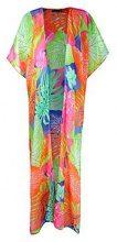 Lucy maxi kimono da spiaggia con foglie tropicali a colori fluo