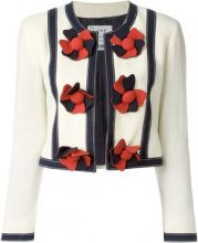 Moschino Vintage - collarless cropped jacket - women - Rayon - 38 - NUDE & NEUTRALS