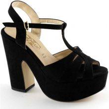 Sandali Divine Follie  2511 nero sandali donna tacco zeppa plateaux cinturino