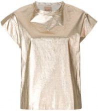 - Nude - relaxed style T - shirt - women - lino/cotone - 42 - effetto metallizzato