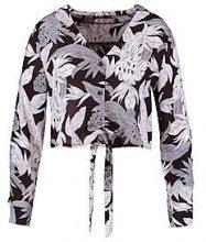 Plus Lois Tie Front Tropical Leaf Print Top