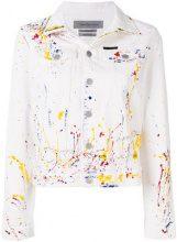 - Ck Jeans - Giacca denim con stampa vernice - women - cotone - XS - di colore bianco