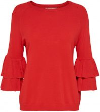 ONLY Frilled Knitted Pullover Women Red