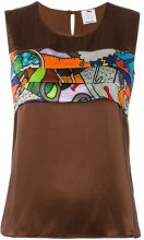 Ultràchic - Blusa con stampa 'Cartoon' - women - Silk/Spandex/Elastane - 42 - BROWN