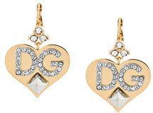 Dolce & Gabbana - Orecchini 'Heart' con logo - women - Crystal/Brass - One Size - METALLIC