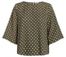 PIECES Dotted Blouse Women Green