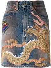 Gucci - Gonna di jeans 'Dragon' - women - Cotone/Nylon/Cellulosa/Metallic Fibre - 38, 40, 42, 44 - Blu