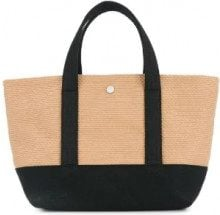 Cabas - knit style small tote bag - women - Cotton - OS - BROWN