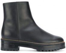Sergio Rossi - Stivaletti con dettaglio a zip - women - Leather/rubber/Sheep Skin/Shearling - 37, 39, 39.5, 40 - BLACK