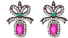 Gucci - Orecchini pendenti con fiocco - women - Metal (Other)/Resin/glass/Silk - OS - PINK & PURPLE