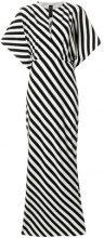 Norma Kamali - Vestito lungo a righe - women - Polyester/Spandex/Elastane - XS, S - BLACK
