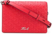 Karl Lagerfeld - Signature Allover shoulder bag - women - Polyurethane - One Size - RED