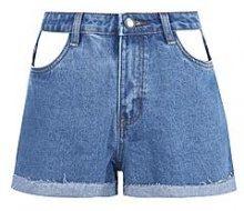 Dona pantaloncini di jeans con tasche e intaglio