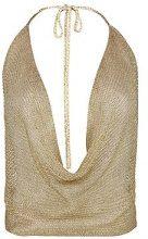 Leah Top in maglia metallizzata allacciato al collo