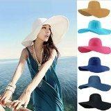 tongshi Estate Donna tesa larga spiaggia cappello di Sun del cappello di paglia (Bianco)