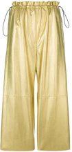 Mm6 Maison Margiela - pantaloni alla caviglia metallizzati - women - Viscose/Polyurethane/Cotton - 36, 38 - NUDE & NEUTRALS