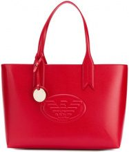 Emporio Armani - embossed logo tote bag - women - Polyurethane - OS - RED