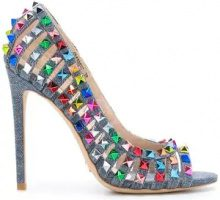 Gianni Renzi - studded pumps - women - Cotton/Leather/Metal (Other) - 36, 37, 37.5, 38 - BLUE