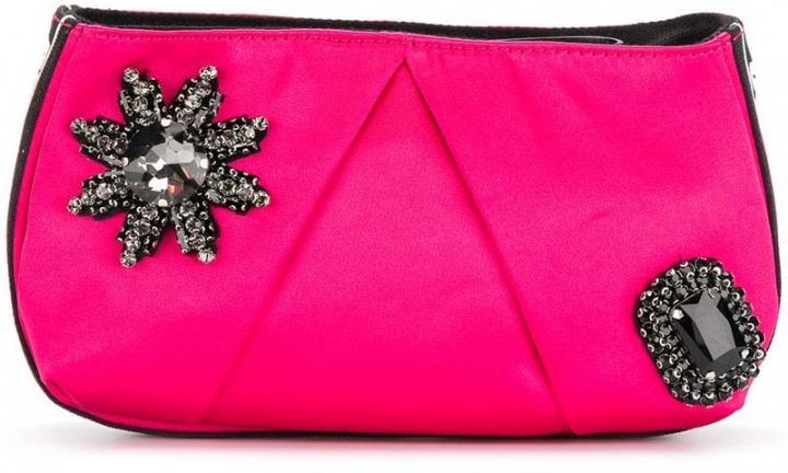 6c9a9fabe3 Pinko - Clutch con fiore di strass - women - Polyester/Cotone ...