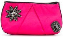 Pinko - Clutch con fiore di strass - women - Cotton/Polyester - OS - PINK & PURPLE