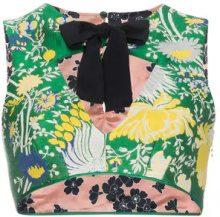Rochas - Top crop con stampa a fiori - women - Viscose/Cotone/Silk/Polyester - 40, 42, 44 - GREEN