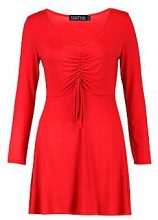 Carlie Ruched Front Long Sleeve Tea Dress