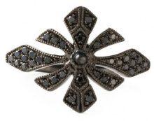 Joëlle Jewellery - Argento per parte superiore dito 'Antique' - women - Silver/Diamond - 3 1/4 - Nero