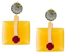 Marni - crystal square earring - women - Resin - OS - YELLOW & ORANGE