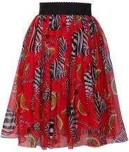 Dolce & Gabbana - Gonna con stampa a zebra - women - Silk/Cotone/Spandex/Elastane/Polyamide - 40, 38, 42 - RED