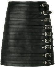 Manokhi - multi buckle skirt - women - Leather/Viscose/Polyester - 34, 36, 38, 40 - BLACK