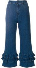 Vivetta - Jeans crop con balze - women - Cotton/Spandex/Elastane - 38, 40, 42 - BLUE