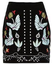 Elara Bonded Velvet Embroidered A Line Mini Skirt