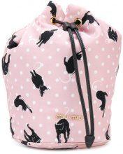Miu Miu - Borsa a secchiello con motivo a gatto - women - Polyamide - OS - PINK & PURPLE