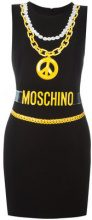 Moschino - trompe-l'oeil chain necklace dress - women - Polyester/Viscose/Triacetate - 40, 38, 42 - Nero