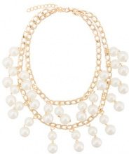 Edward Achour Paris - pearl chain necklace - women - metal - OS - WHITE
