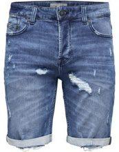 ONLY & SONS Bull Blue Damage Denim Shorts Men Blue