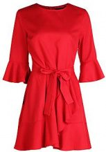 Maddie Ruffle Detail Belted Skater Dress